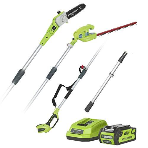 Greenworks Tools 1300607UA Potatore e Tosasiepi Telescopico, 40 V, Verde