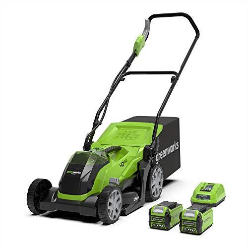 Greenworks Tools Tosaerba a Batteria G40LM35K2X Li-Ion 40 V Larghezza Taglio 35 cm fino 500 m² 2 in 1, Pacciamare Rasare 40 L Cesto Erba, con 2 Batterie 2 Ah e Caricatore
